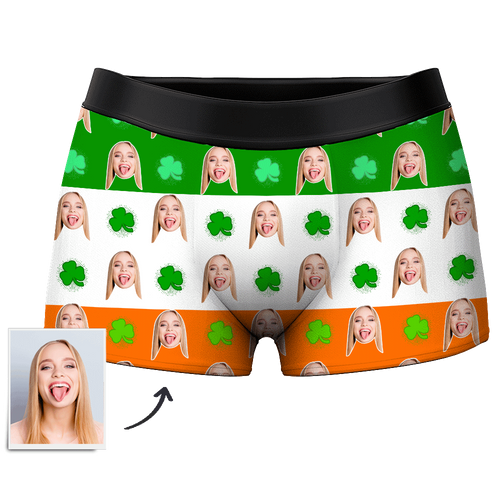 Men's Custom Face Boxer Shorts - Lucky clover - Myfacesocksuk