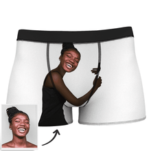 Custom Face Man Boxer Shorts On Body Dark Skin