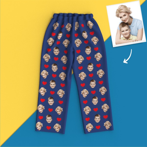 Custom Face Pajamas Heart Long Sleeve Sleepwear