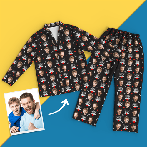Custom Face Pajamas Long Sleeve Pajamas- I Love My Dad Pyjamas