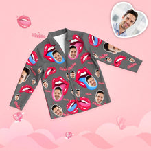 Valentine's Day Custom Face Tongue Kiss Printed Long Sleeve Pajamas