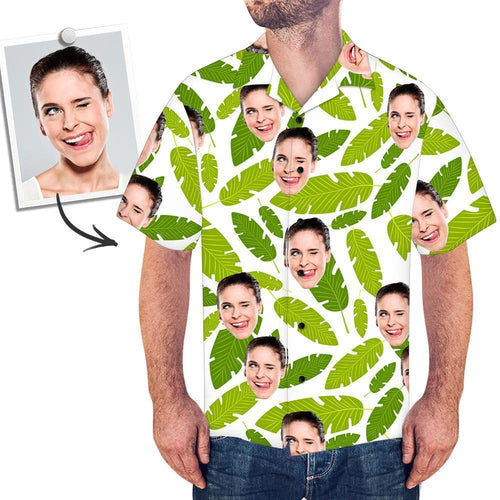 Custom Face Men's Hawaiian Shirt Fresh Green Leaves - MyFaceSocksUK