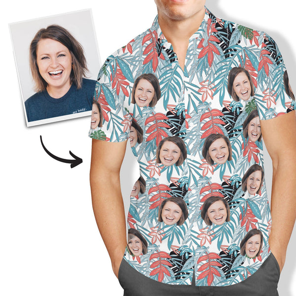 Custom Face Hawaiian Shirt Men's All Over Print Leaves - MyFaceSocksUK