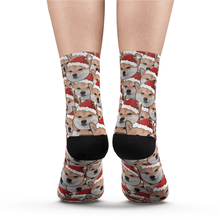 Custom Face Mash Dog Santa hat Socks