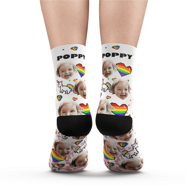 Custom Pride Socks (Pride Pixel) With Your Text - Myfacesocksuk