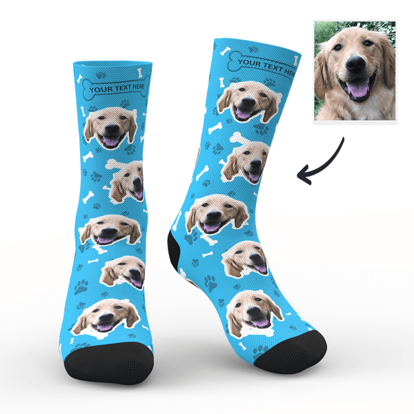 Custom Dog Socks With Your Text - Smoky blue