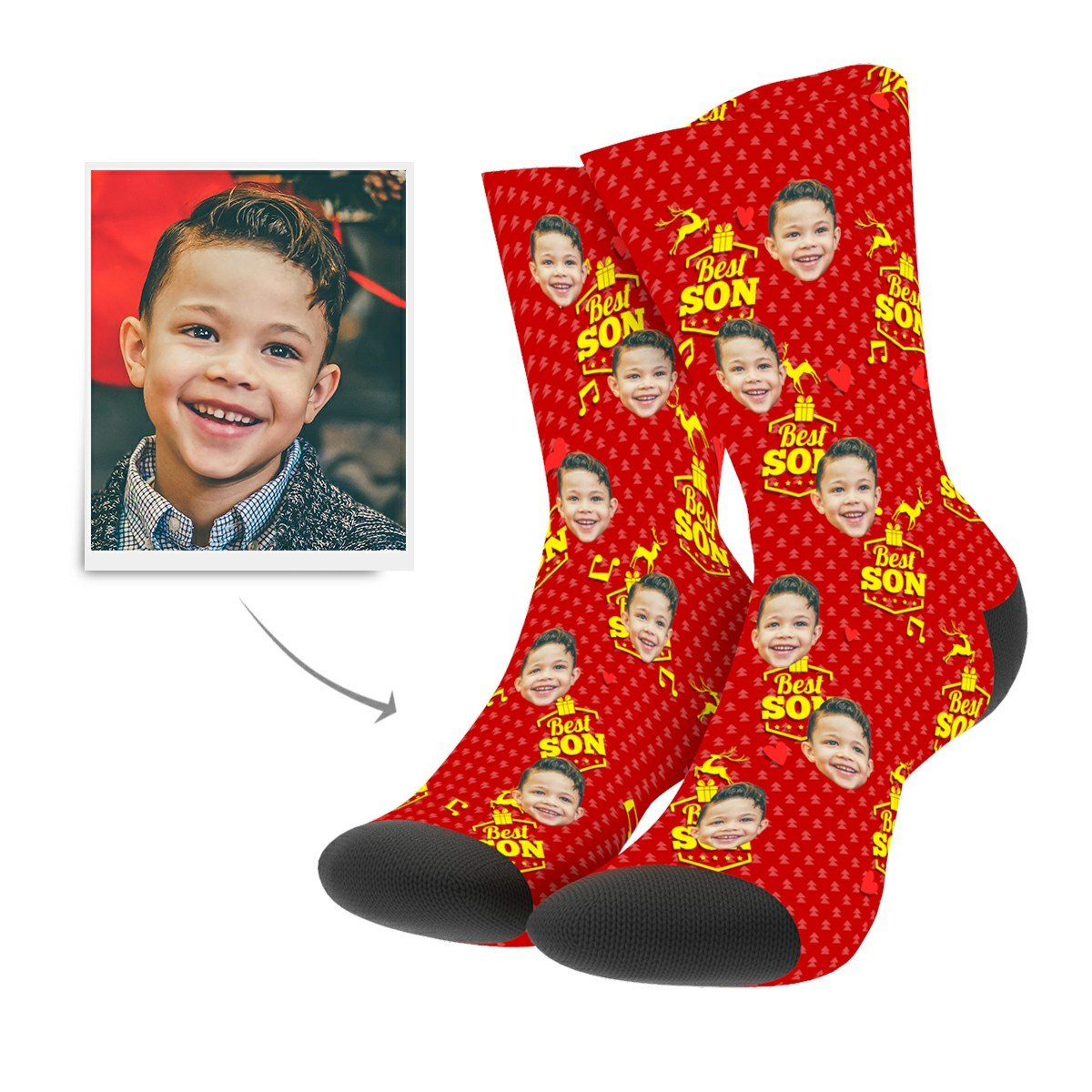 Christmas Custom Son Socks - Myfacesocksuk