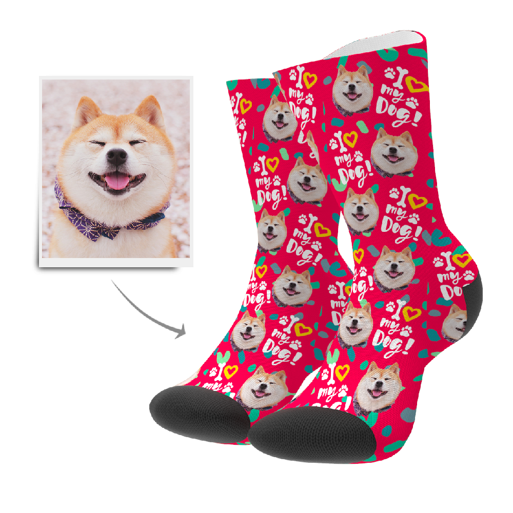 Custom Love Dog Socks - Myfacesocksuk
