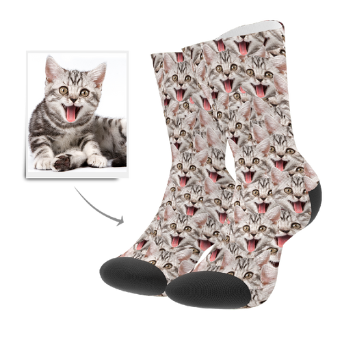 Custom Face Mash Cat Socks With Your Text - MyFaceSocksUK