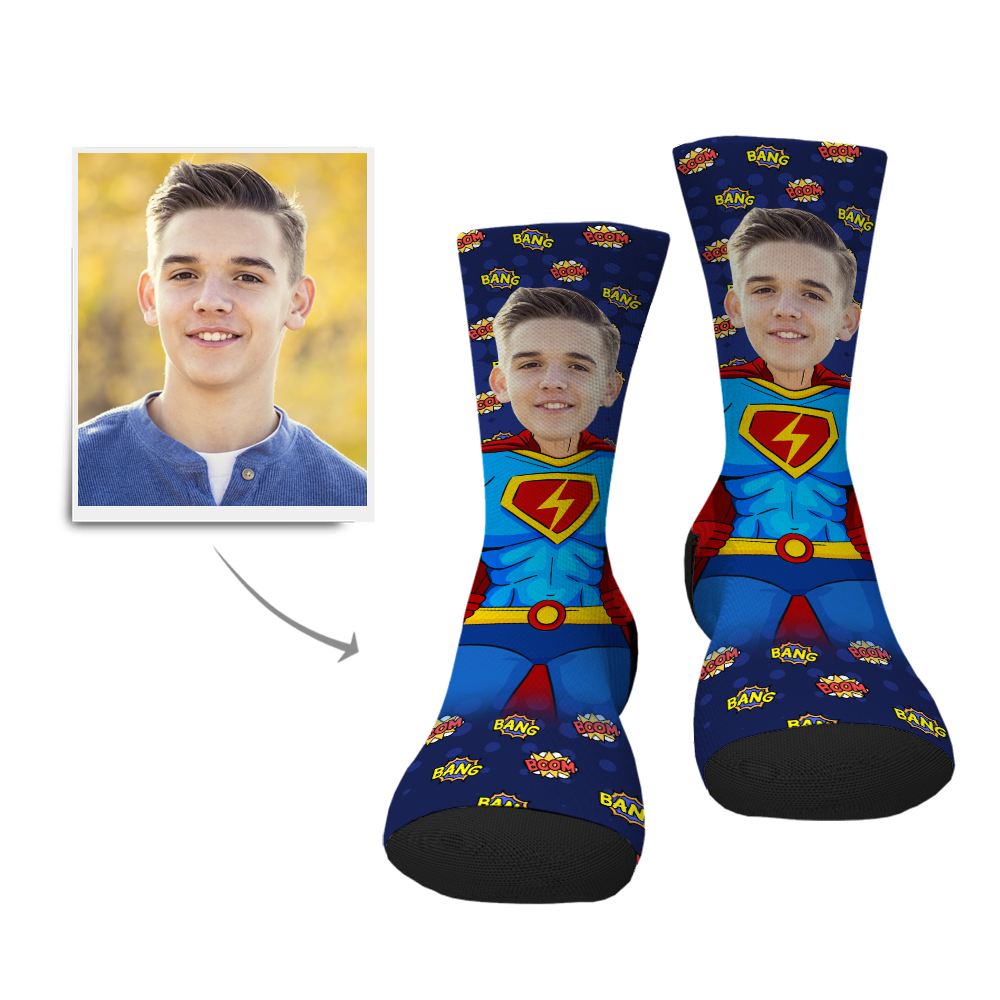 Custom Superman Face Socks - Myfacesocksuk