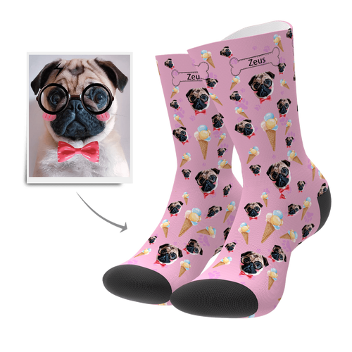 Custom Pet Dog Socks Ice Cream - Myfacesocksuk