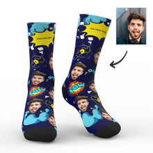Custom Face Socks Comic Bang With Your Name