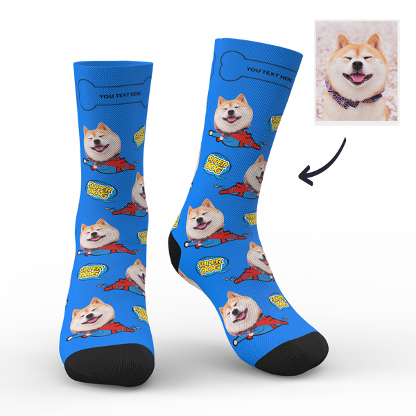 Custom Face Socks Super Dog With Your Name