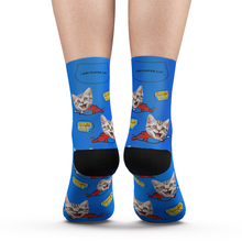 Custom Face Socks Super Cat With Your Name