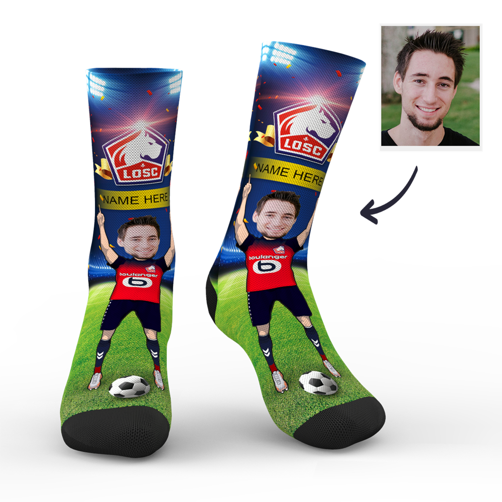 Custom Face Socks Sc Paris Lille Osc Superfans With Your Name