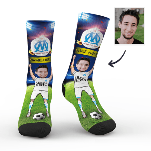 Custom Face Socks Sc Paris Olympique De Marseille Superfans With Your Name