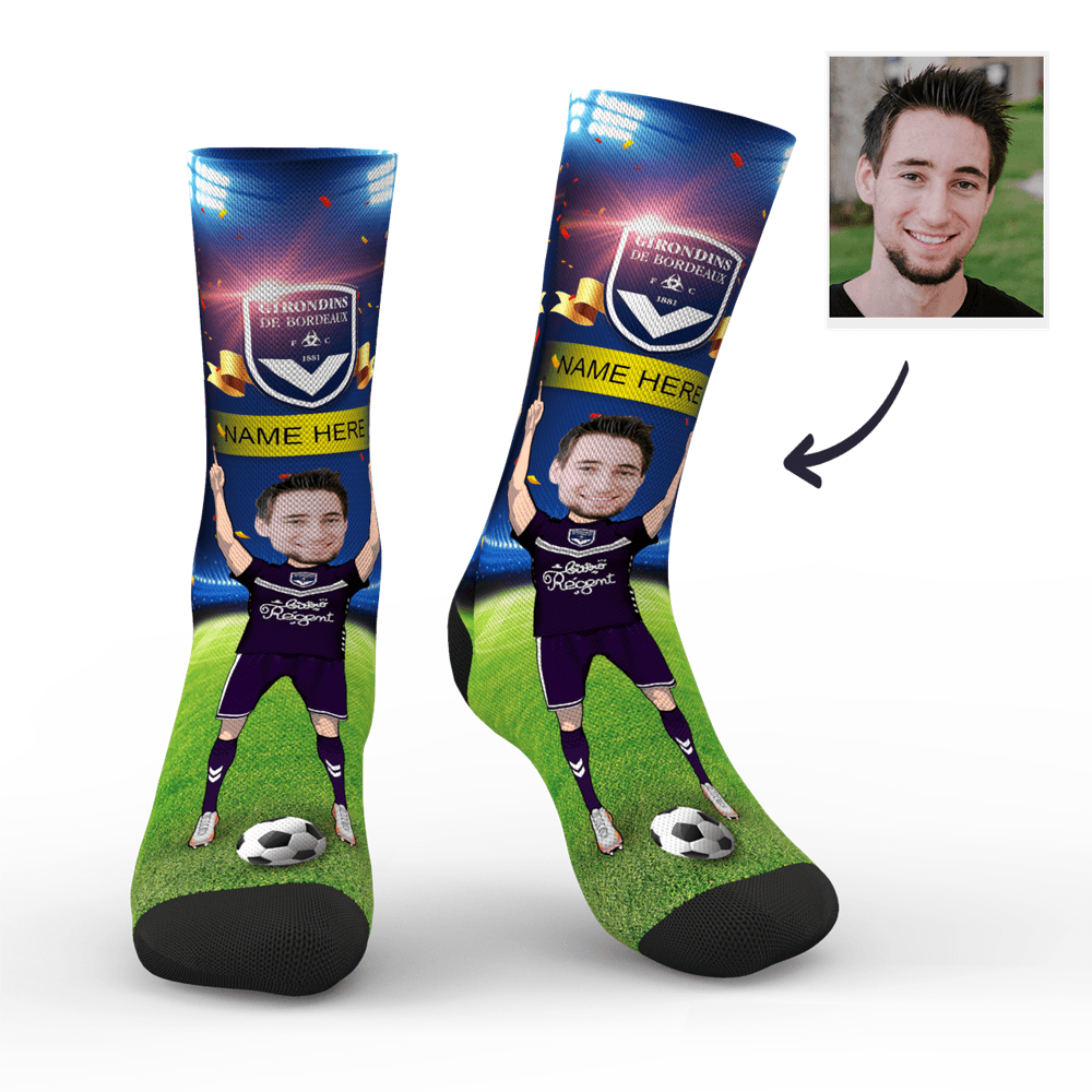 Custom Face Socks Sc Paris Girondins De Bordeaux Superfans With Your Name