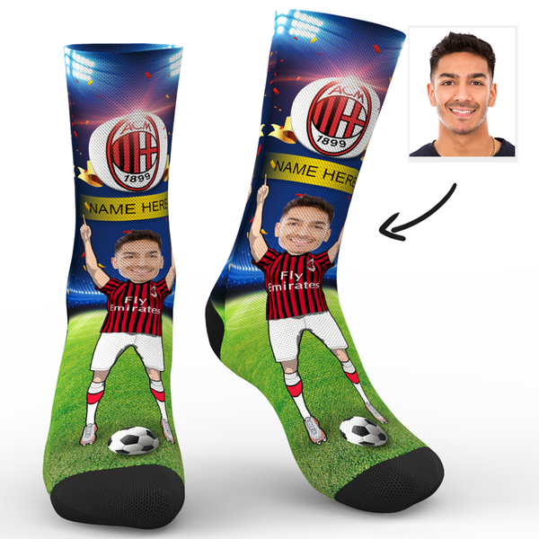 CUSTOM PHOTO SOCKS SC PARIS A.C. MILAN SUPERFANS WITH YOUR TEXT