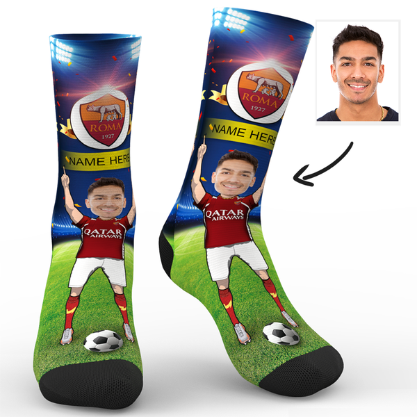 Custom Face Socks Sc Paris A.S. Roma Superfans With Your Name