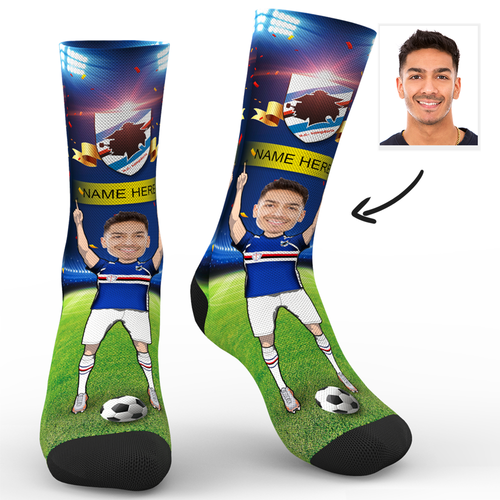 Custom Face Socks Sc Paris U.C. Sampdoria Superfans With Your Name
