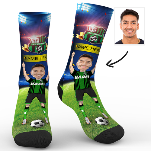 Custom Face Socks Sc Paris U.S. Sassuolo Calcio Superfans With Your Name