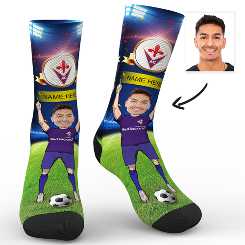 Custom Face Socks Acf Fiorentina Superfans With Your Name