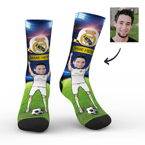 Custom Face Socks Real Madrid C.F. Superfans With Your Name