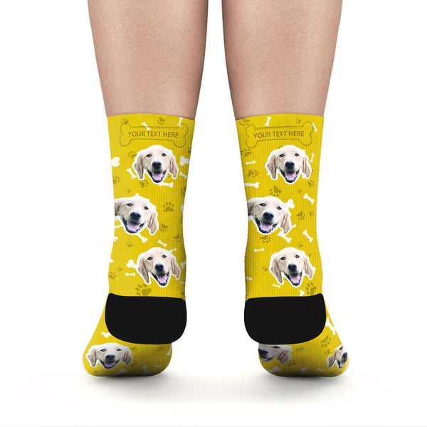 Custom Rainbow Socks Dog With Your Text - Yellow - MyFaceSocksuk