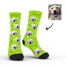 Custom Rainbow Socks Dog With Your Text - Green - MyFaceSocksuk