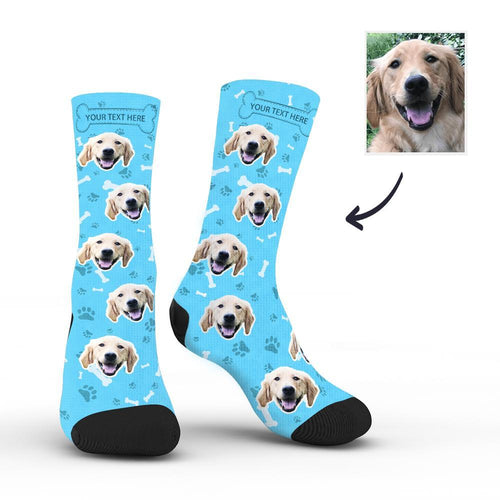 Custom Rainbow Socks Dog With Your Text - Blue - MyFaceSocksuk