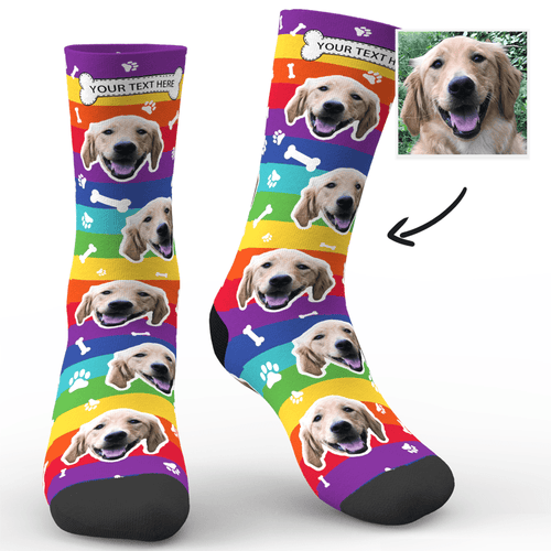 Custom Rainbow Socks Dog With Your Text  - MyFaceSocksuk