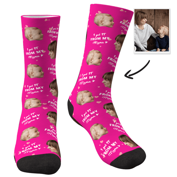 Custom Face Socks-I Got It From My Mom