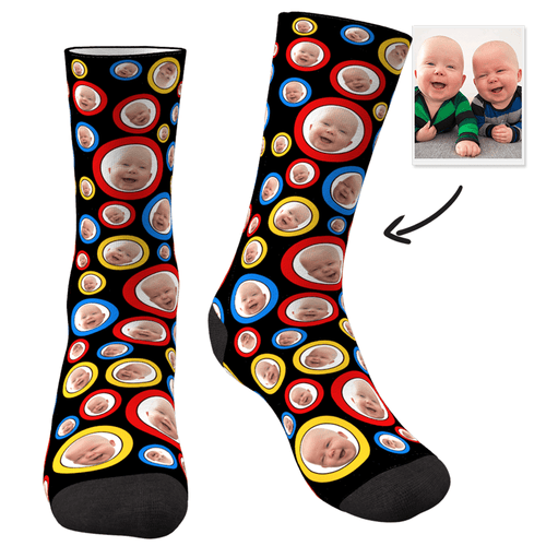 Custom Photo Socks Circle Yourself - MyFaceSocksUK