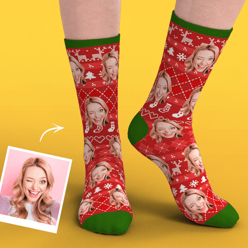 Christmas Custom Face Socks With Special Lines Add Pictrues