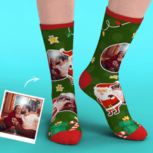 Christmas Custom Face Socks With Santa Claus Gifts And Stars