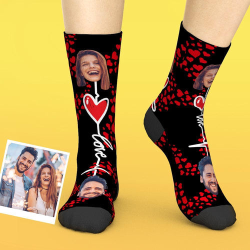 Custom Couple Faces Socks For Valentines Day Gifts
