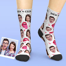 Custom Face Tongue Kiss Printed Valentines Socks