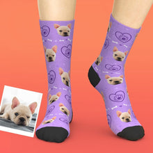 Custom Pet Face Love Heart Dog Paw Socks