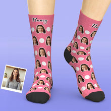 Custom Face Socks Add Pictures And Name Polka