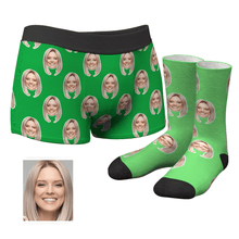Custom Corlorful Face Boxer Shorts And Socks Set