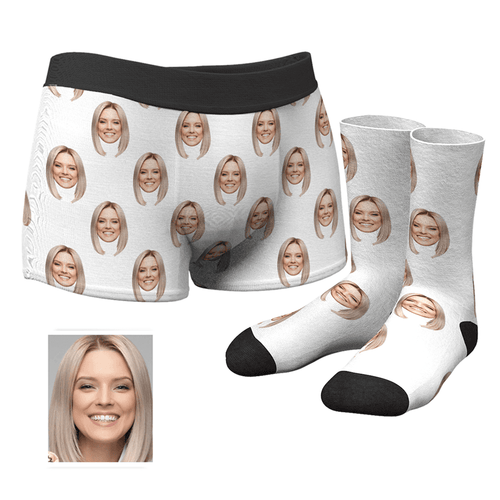 Custom Colorful Face Boxer Shorts And Socks Set