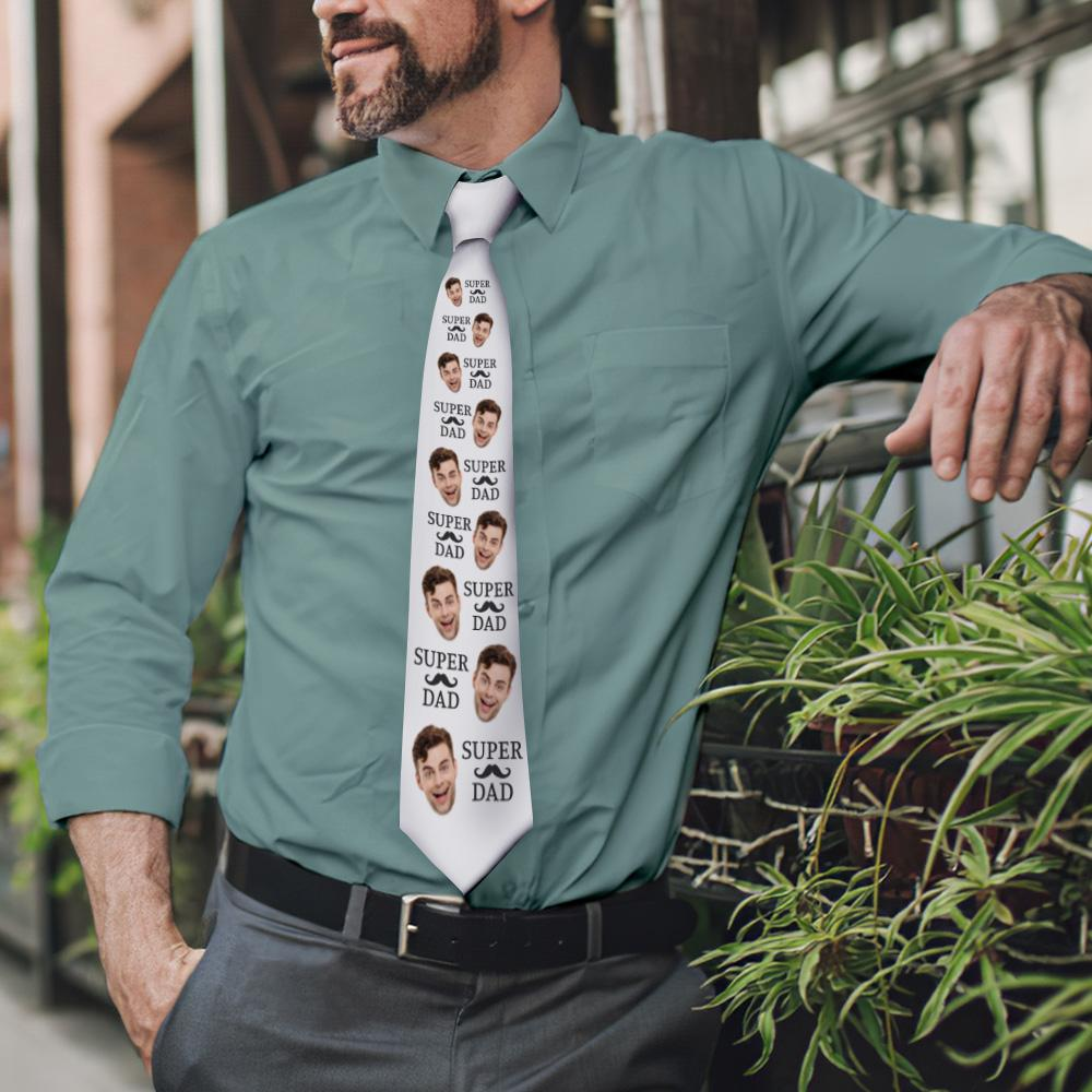 Custom Face On White Necktie Super Dad
