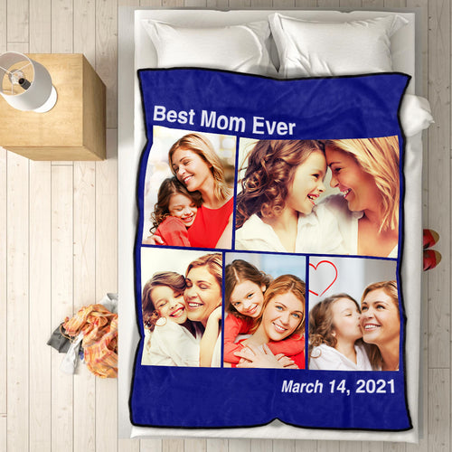 Personalized Mother's Day Gifts 5 Photos Fleece Custom Blanket