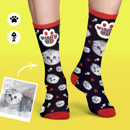 Custom Cat Socks Photo Colorful Candy Series Soft And Comfortable Cat Face Socks