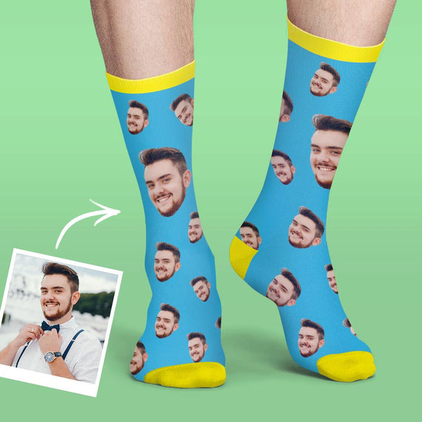Custom Face Socks Colorful Candy Series - Smoky Blue