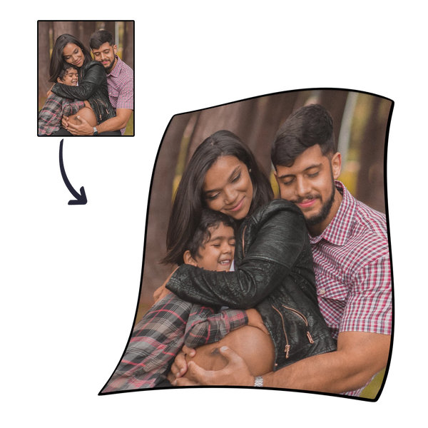 Personalized Family Photo Cover Whole Fleece Custom Blanket