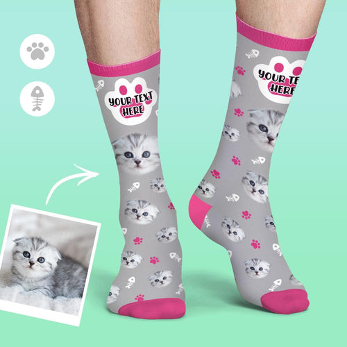 Custom Cat Face Socks Photo Colorful Candy Series Socks Soft And Comfortable Cat Socks