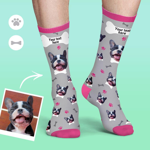 Custom Face Socks Colorful Candy Series Soft And Comfortable Dog Socks - Grey