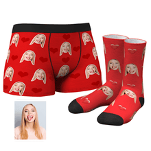 Custom Heart Boxer Shorts And Socks Set
