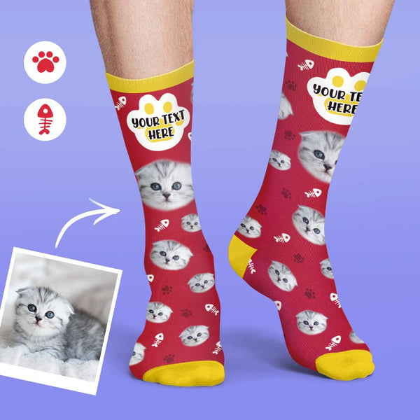 Custom Personalized Cat Face Socks Colorful Candy Series Soft And Comfortable Cat Socks